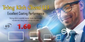 Tròng Kính Chemi Lens U3 1.60 Lọc Ánh Sáng Xanh