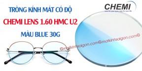 Tròng Kính Mát Có Độ Chemi Lens 1.60 Màu Blue 30F