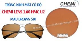 Tròng Kính Mát Có Độ Chemi Lens 1.60 Màu Brown