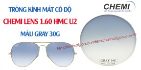 Tròng Kính Mát Có Độ Chemi Lens 1.60 Màu Gray