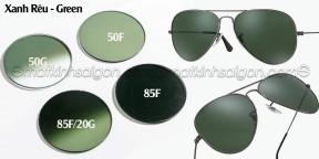 Tròng Kính Mát Có Độ Chemi Lens 1.60 Màu Green