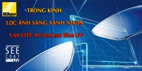 Tròng Kính Lọc Ánh sáng xanh Nikon 1.60 Lite AS SeeCoat Blue UV