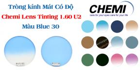 Tròng kính Mát Có Độ Chemi Lens Tinting 1.60 U2 Màu Blue 30