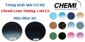 Tròng kính Mát Có Độ Chemi Lens Tinting 1.60 U2 Màu Blue 80