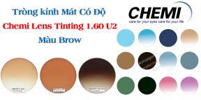 Tròng kính Mát Có Độ Chemi Lens Tinting 1.60 U2 Màu Brown