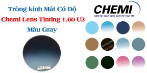 Tròng kính Mát Có Độ Chemi Lens Tinting 1.60 U2 Màu Gray