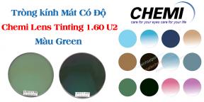 Tròng kính Mát Có Độ  Chemi Lens Tinting 1.60 U2 Màu Green